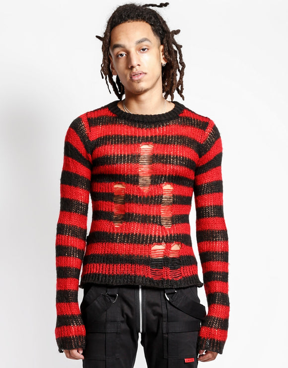 Unisex Black & Red Striped Sweater