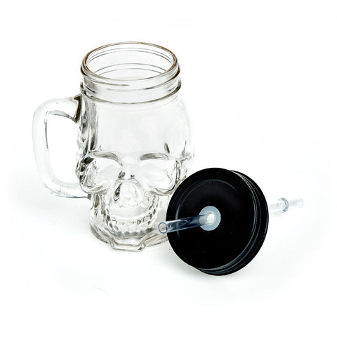 Glass Skull Mason Drinking Jar