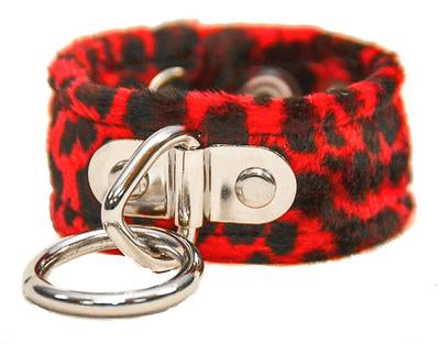 Red Leopard Bondage Ring Wristband