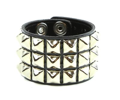 3 Row Shiny Black Patent Leather Pyramid Stud Wristband