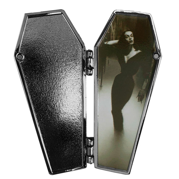 Vampira Open Coffin Mist Enamel Pin