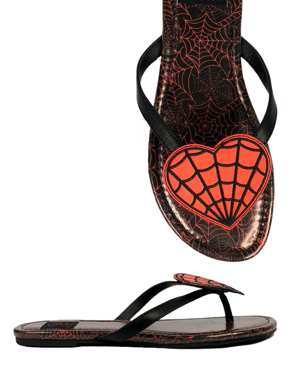 Betty Red Webbed Heart Sandal