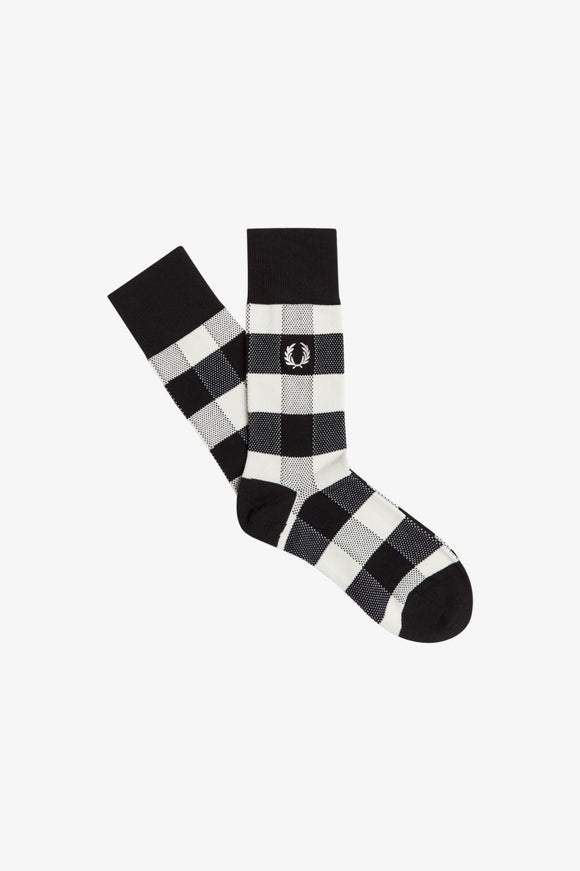 Fred Perry Black/White Tonal Check Socks
