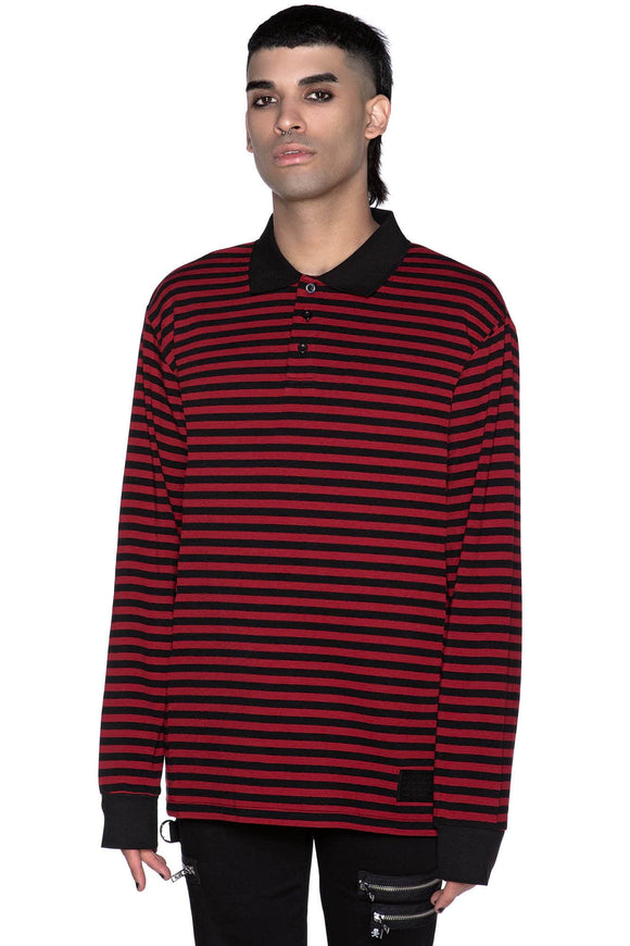 Damon Collar Black & Red Striped Shirt (Unisex)