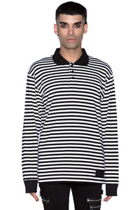 Damon Collar Black & White Striped Shirt (Unisex)