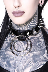 Devil Doll Spiked Ring Choker