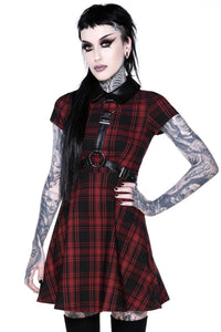 Disgrace Red Plaid Skater Dress