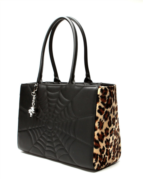 Elvira Lucky Me Tote Black Matte and Leopard - DeadRockers