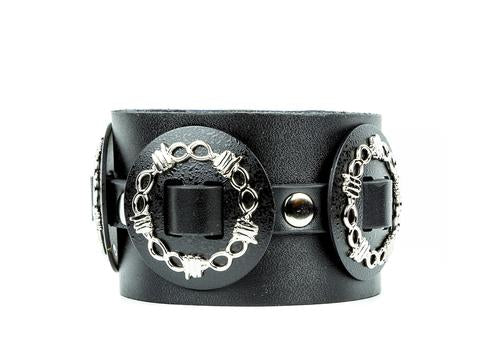 Leather Wired Concho Wristband
