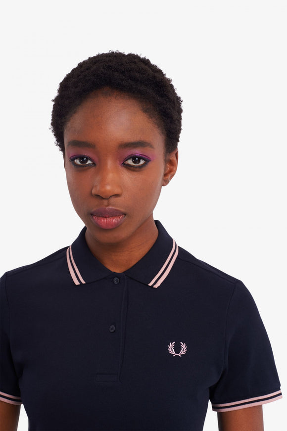 Fred Perry Polo Shirt Navy // Chalky Pink