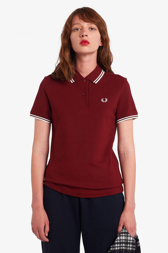 Twin Tipped Fred Perry Polo Shirt Dark Red // Snow White