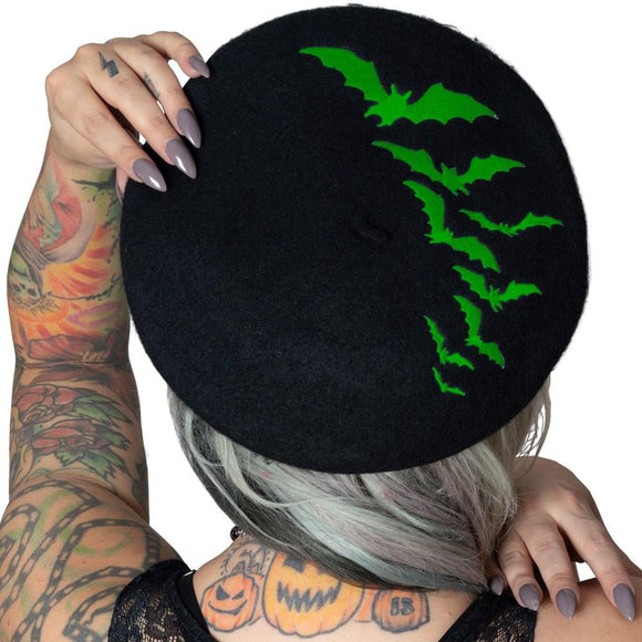 Green Bat Repeat Beret Hat