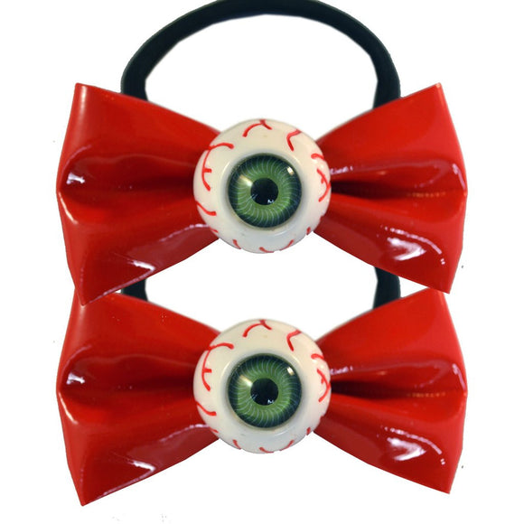 Eyeball Hair Bow Bands Red - DeadRockers