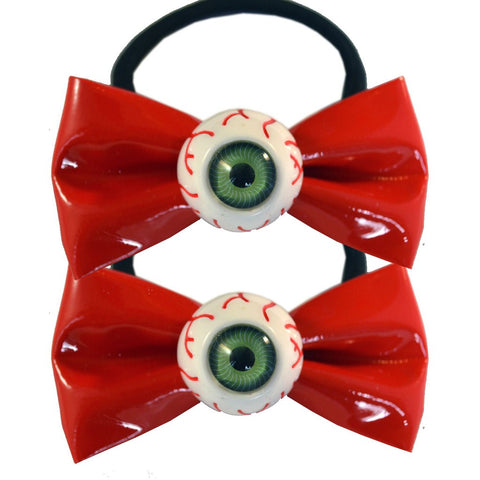 Eyeball Hair Bow Bands Red