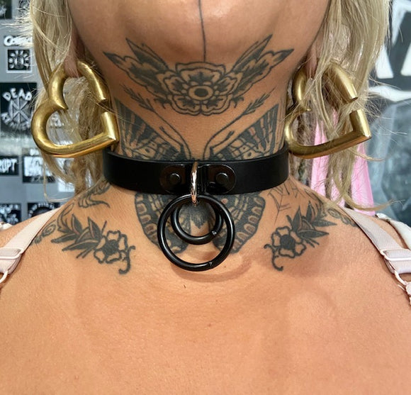 Double Black Ring Leather Choker