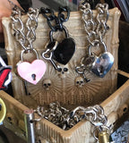 Silver Chain Heart Lock Necklace