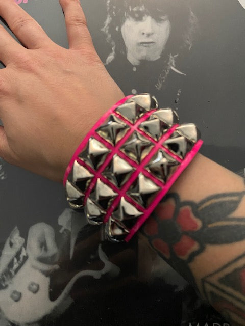 3 Row Hot Pink Pyramid Stud Wristband