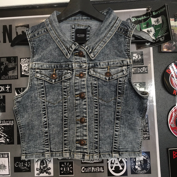 Acid Wash Denim Vest