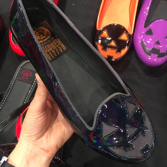 Jack O Lantern Black Reflective Flats - Only Size 7 Left!