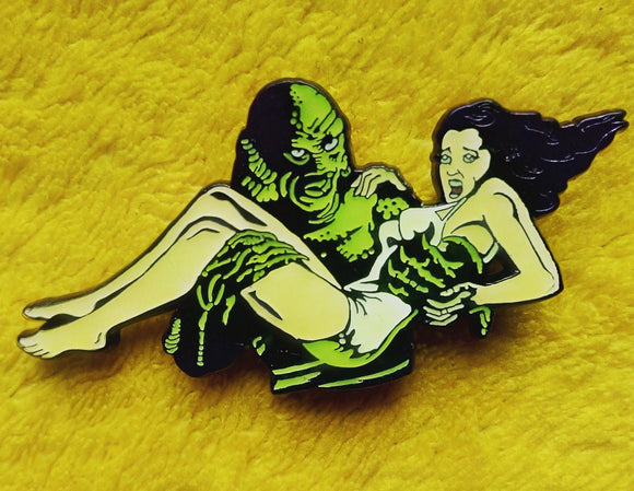 Creature & Girl Glow in the Dark Enamel Pin