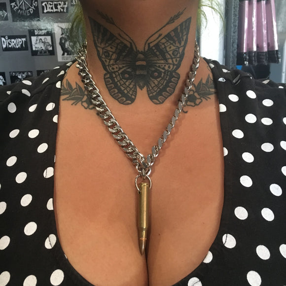 Brass Bullet Chain Necklace