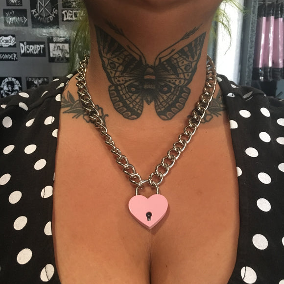 Pink Heart Lock Necklace
