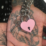 Pink Heart Lock Chain Necklace