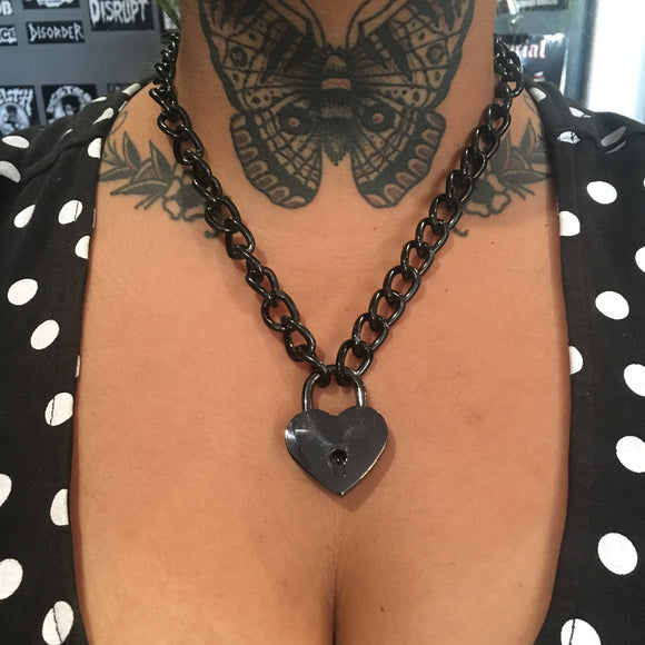 Black Chain Heart Lock Necklace