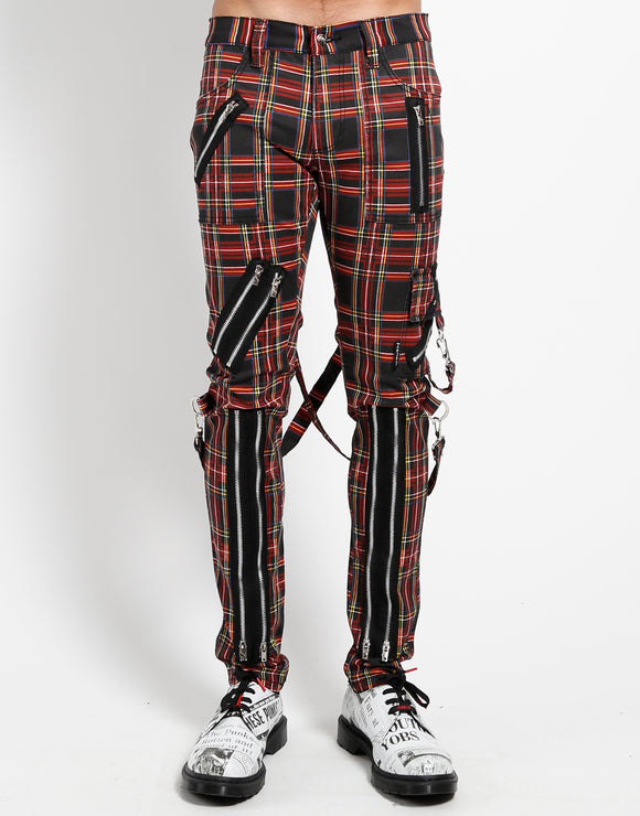 Classic Slim Black Plaid Bondage Pants