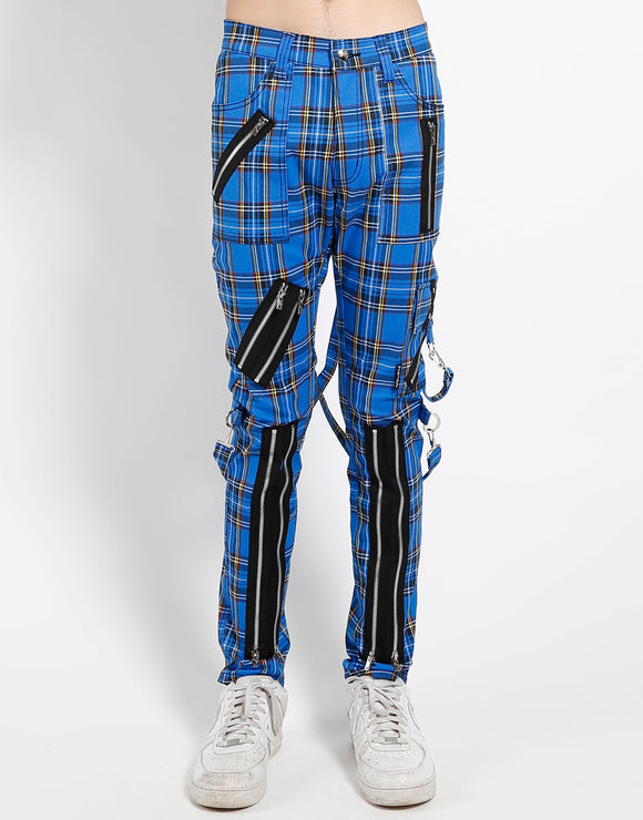 Classic Slim Leg Blue Plaid Bondage Pants