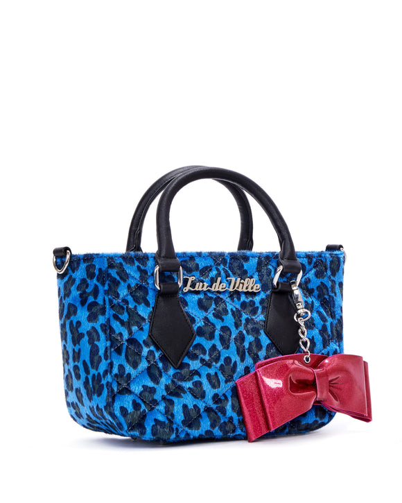 Mini Sweet Pea Tote Blue Leopard