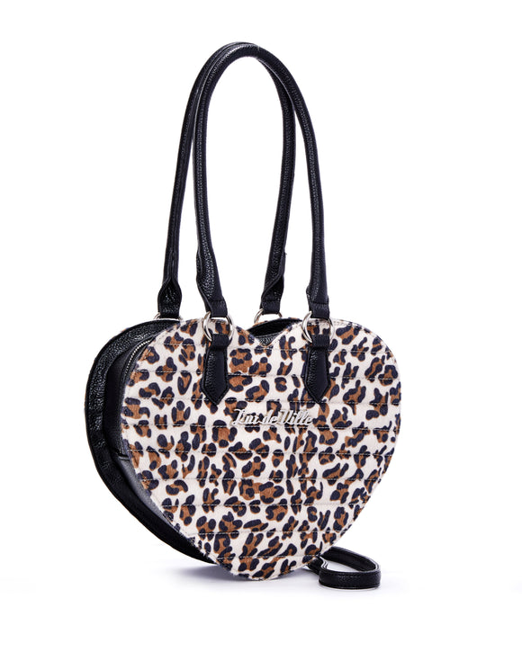 Brown Leopard Print Heart Handbag