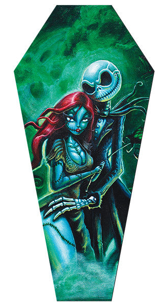 Jack & Sally Coffin Stretched Canvas - DeadRockers