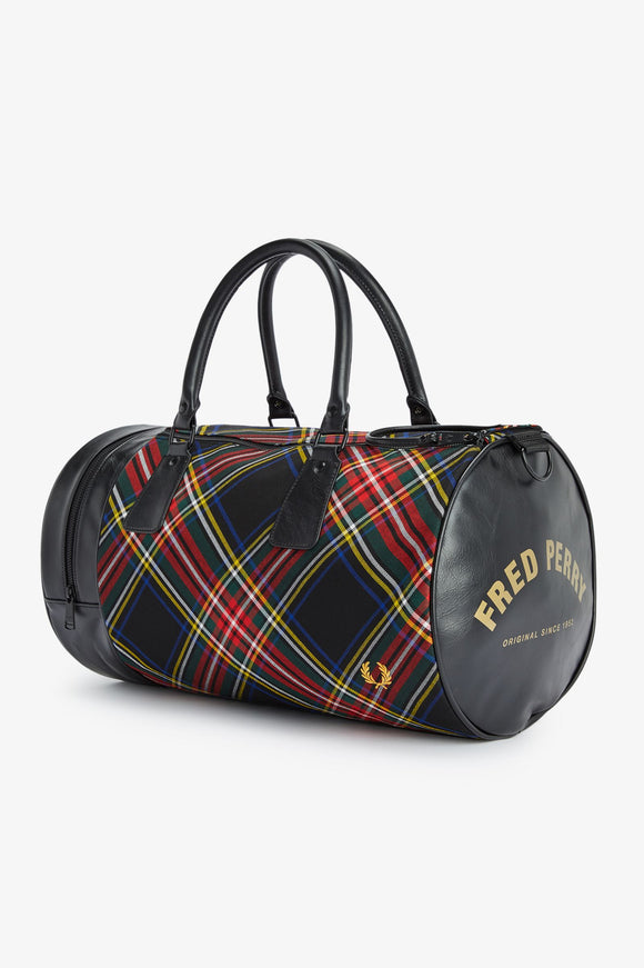 Fred Perry Black Tartan Barrel Bag