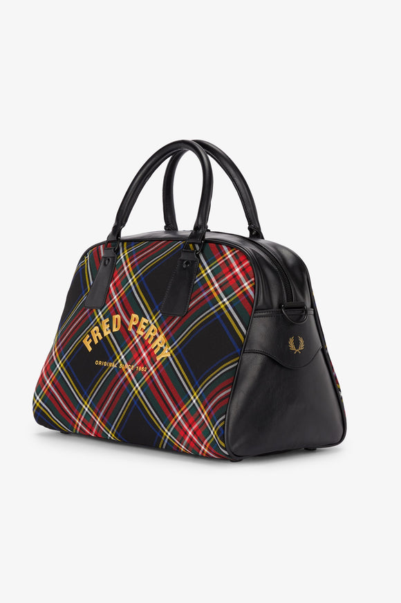 Fred Perry Black Tartan Grip Bag