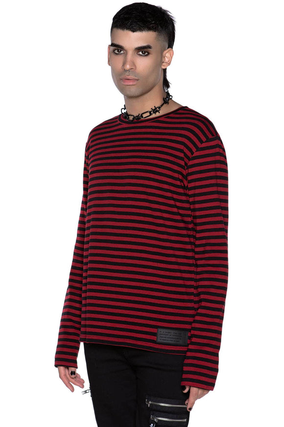 Lars Long Sleeve Blood Red Striped Shirt