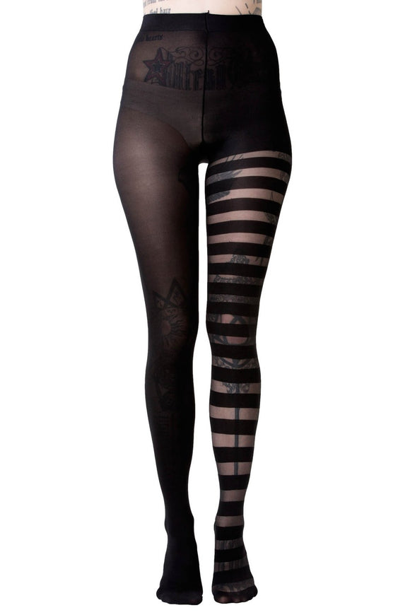 Libra Black Striped Tights