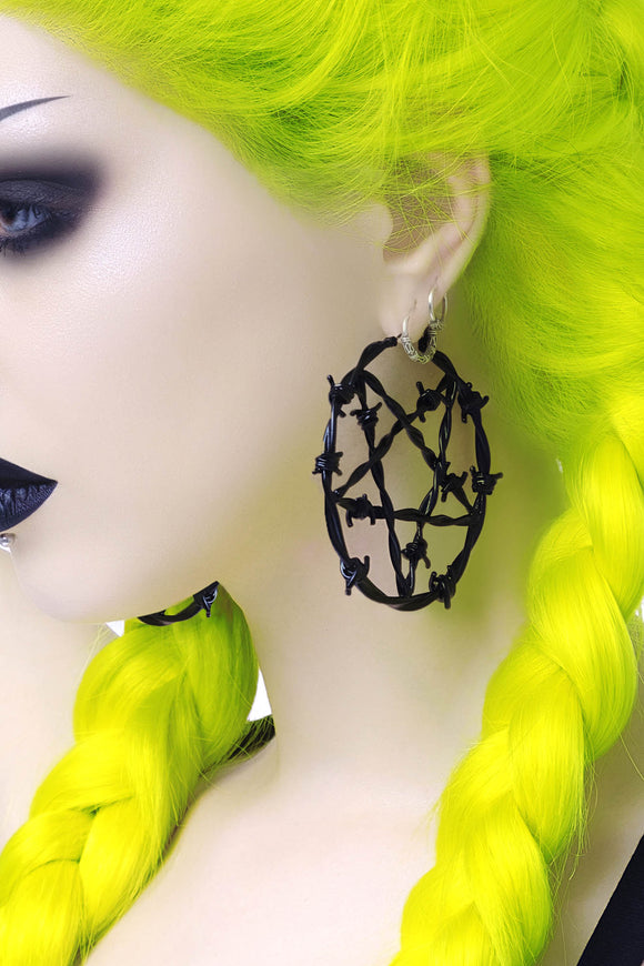 Life's A Witch Black Hoop Earrings