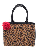 Brown Leopard Black Dahlia Tote