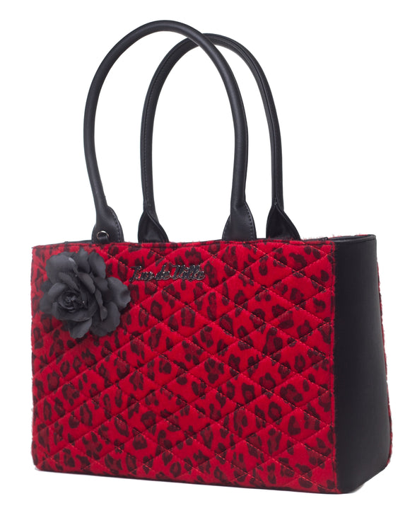 Red Leopard Black Dahlia Tote
