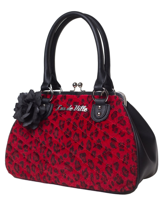 Red Leopard Black Dahlia Kiss Lock