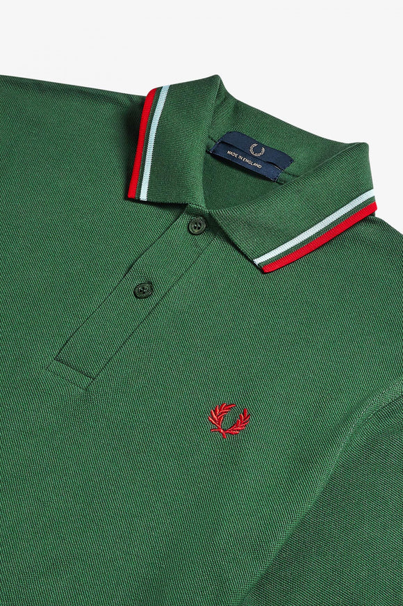 Fred Perry Twin Tipped Polo Tartan Green / Ice / Red