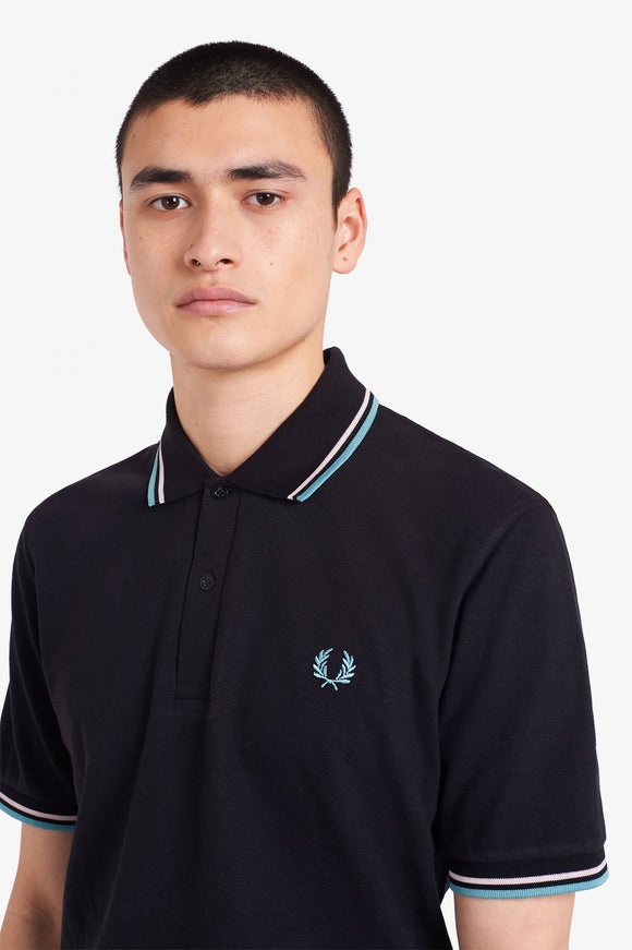 Fred Perry Twin Tipped Polo Black / Orchid Ice / Nile