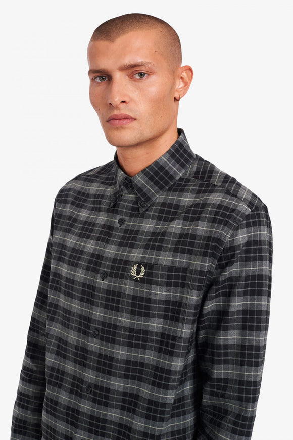 Fred Perry Black Tonal Check Long Sleeve