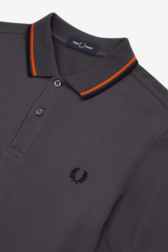 Fred Perry Polo Charcoal / International Orange / Black