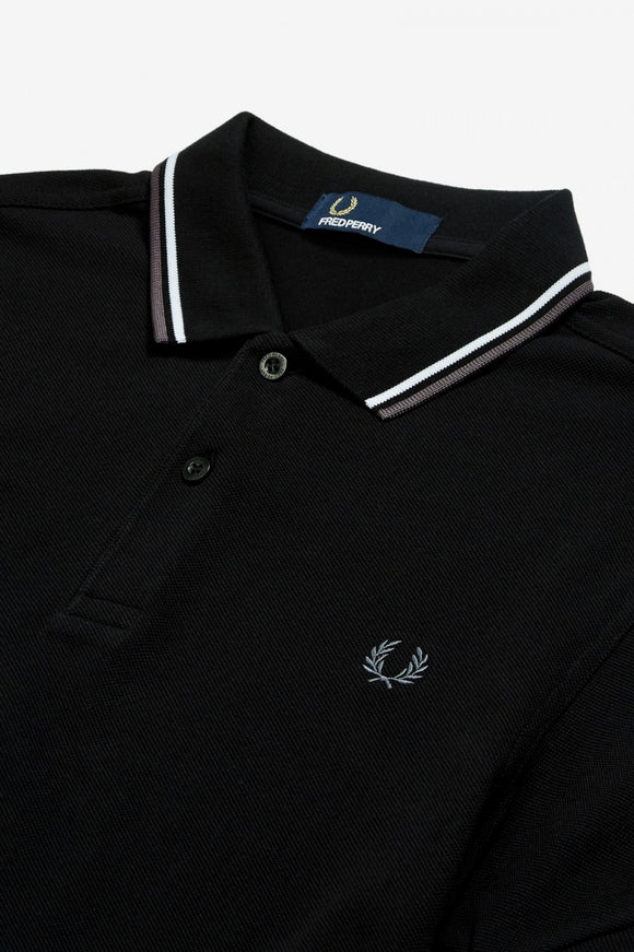 Fred Perry Polo Black / White / Iced Slate