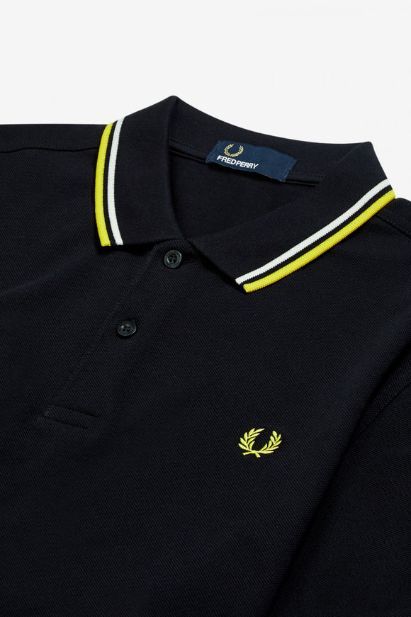 Fred Perry Polo Navy / Snow White / Electric Yellow