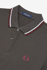 Fred Perry Polo Anthracite / White / Mahogany