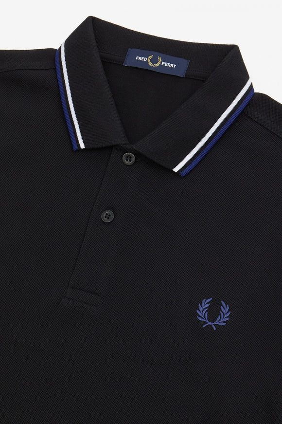 Fred Perry Polo Black / White / Blue (Last One, Large Only!)
