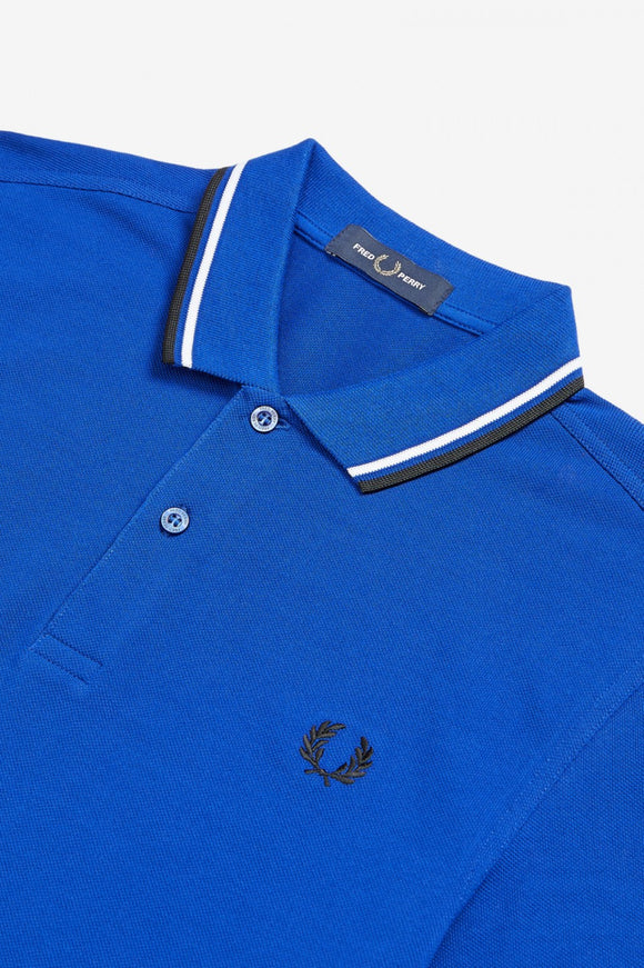 Fred Perry Polo Bright Blue / Black / White - ON SALE!